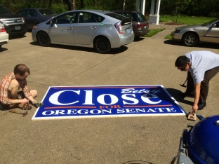 BBQ and Sign Making at Senator Close's House