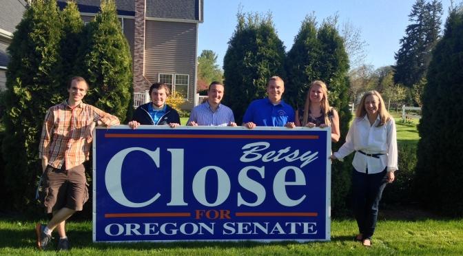 BBQ and Sign Making at Senator Close's House