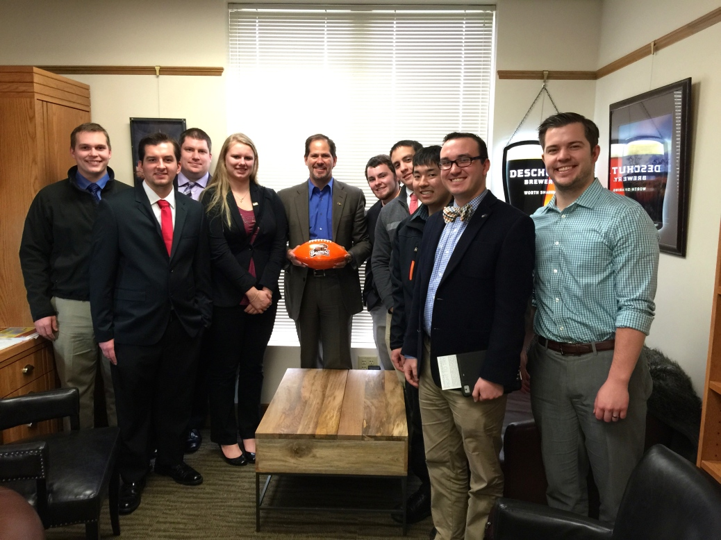 College Republicans at the Oregon Capitol with Rep. Knute Buehler. 2015